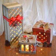 Light-Up Porch Presents: 10 Tutorials and Christmas Decorating Ideas - See all 10: http://www.familyhandyman.com/smart-homeowner/10-tutorials-and-christmas-decorating-ideas