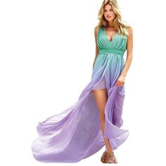 Pre-owned Mint Green Blue Lavender Ombre Victoria's Secret High Low... (3.970 UYU) ❤ liked on Polyvore featuring dresses, white halter dress, mint maxi dress, lavender maxi dress, empire waist maxi dress and halter maxi dress