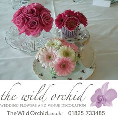 Table Centrepiece - floral cupcakes on vintage china plate and glass stand