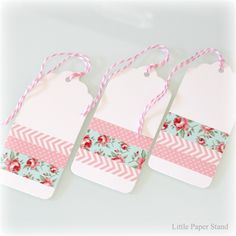 Set of 3 Gift tags - Washi tape pink chevron, polka dots and floral