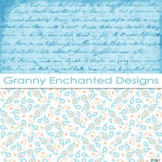 Bright Day: 24 Digital Papers in Bright Summer and Spring vintage handwriting blue paisley cute shabby