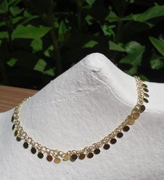 """ITALY 24k YELLOW GOLD over 925 STERLING SILVER DANGLING CIRCLE ANKLET 10 - 11"""" #AuthenticItalianCraftsmanship"""