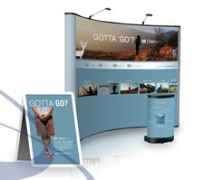 Trade show booth backdrop layout