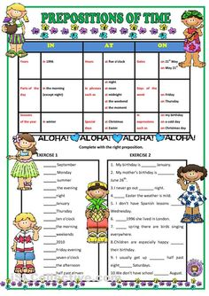 prepositions of time first grade - Google Search