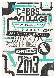 W.M Cobb's Village Bakery - A poster created for a fictional bakery. I designed various other branded products alongside this including business cards and paper bag labels. - http://www.flickr.com/photos/benhutchings/