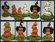 Handmade Polymer Clay Little Fantasy Totem Pumpkis by KabiDesigns on deviantART for Halloween Theme Halloween, Halloween Fairy, Diy Halloween Decorations, Halloween Crafts, Halloween Village, Fall Crafts, Polymer Clay Halloween, Polymer Clay Projects, Polymer Clay Art