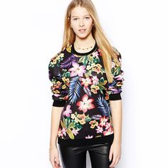 ce1929e83c63e New Europe Women Pullover Vintage Floral Print Crew Neck Long Sleeve Casual  Sweatshirt Tops black Online Shopping