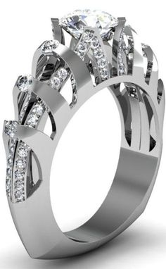 Platinum and diamond accented ring with round diamond center stone Stuller