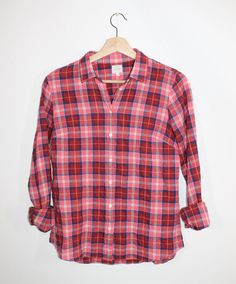 J.Crew NWT Perfect Shirt Pink Plaid Suckered Fitted Button Down S #JCREW #ButtonDownShirt #Casual