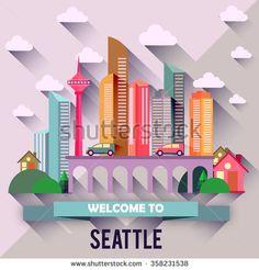 Seattle - Flat design city vector illustration - stock vector