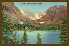 Loch Vale Lake in Rocky Mountain National Park  - 1935 Postcard.  Printed on cotton.  Ready to sew. Single 4x6 block $4.95. Set of 4 - 4x6 blocks with a free wall hanging pattern $17.95
