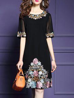DRESS,Floral Dress,Women Plus Size Floral Embroidered Shift Elegant Evening Midi Dress,Fantasyou Midi Dress With Sleeves, Floral Midi Dress, Floral Dresses, Jw Moda, Batik Dress, Mode Hijab, Fashion Dresses, Maxi Dresses, Fashion Top