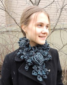 RoseOnie Scarf in a Grey Blue soft bulky Merino by Valerie Baber Designs -  IntricateKnits, $65.00