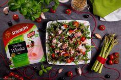 WŁOSKA LEKKOŚĆ BYTU. Sałatka w stylu fit z Szynką Włoską, rukolą, pomidorkami, oliwkami, rzodkiewkami, grillowanymi szparagami, pestkami słonecznika i jogurtowy dressingiem z czosnkiem oraz bazylią.