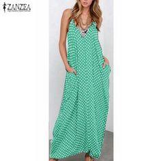 666f98e060d 6 Color Sexy Women Strapless Polka Dot Casual Loose Long Maxi Summer Dress  Cotton Beach de verano Vestidos Plus Size