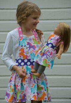 Unicorn Aprons Little Girl Matching American by pieshomecreations, $25.00
