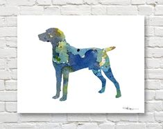 Blue Weimaraner Art Print Abstract Watercolor by 1GalleryAbove