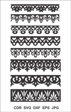 8 Border Cutting File for Laser Cnc & Plasma. Laser Cut Stencils, Stencil Templates, Stencil Patterns, Border Pattern, Border Design, Pattern Design, Cnc Plasma, Wood Panel Walls, Panel Wall Art