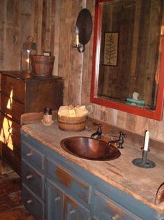 DREAM bathroom. I LOVE the wood counter! #PrimitiveBathrooms