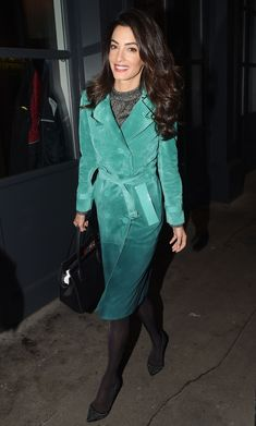 Amal Clooney stepped out wearing an ombre Burberry trench in London.