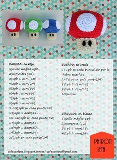 Quieres hacer las setitas de Super Mario? A qué esperas, hoy te traigo el patrón en foto para que puedas tener las tuyas!! Llevaba tiempo ... Crochet Cactus, Crochet Food, Love Crochet, Knit Crochet, Crochet Patterns Amigurumi, Amigurumi Doll, Mario Crochet, Crochet Keychain, Crochet For Beginners