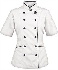 Women's Tailored Chef Coat with Piping. is this not the cutest chef's coat ever? Chef Gourmet, Chef Dress, Doctor Coat, Chef Shirts, Hotel Uniform, Kairo, Work Uniforms, Coats For Women, Chef Jackets