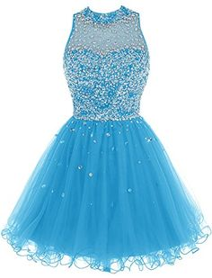 Bbonlinedress Short Tulle Beading Homecoming Dress Prom Gown Blue 24W * You can get more details by clicking on the image.