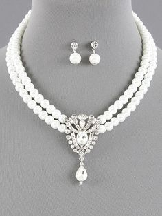Wedding Bridal Pearl Necklace Set With Rhinestones