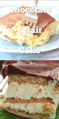 Eclair Cake Layers of graham cracker, pudding, and chocolate create the ultimate treat. Chocolate Eclair CakeLayers of graham cracker, pudding, and chocolate create the ultimate treat. No Bake Desserts, Easy Desserts, Delicious Desserts, Baking Desserts, Baking Cupcakes, Tasty Dessert Recipes, Layered Pudding Desserts, Jello Pudding Desserts, Chocolate Pudding Desserts