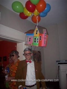 Homemade UP Halloween Costume: The actual house took about a week to make. I made it from a cardboard box with the intention of actually floating it with balloons. As I got into it,