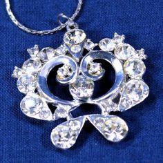Logical Vintage Flower Rhinestone Silver Tone Brooch Very Bright- Pins & Brooches