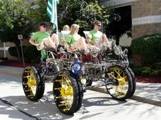 There are many neat pictures here of a four-person cycle powered by legs, bike chains, and gears.