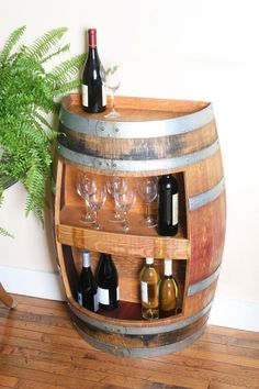 Wine Cabinet Hold 30 Wine Bottles, Wall Cabinet, Solid Oak Made From Recycled Wine Barrel by winebarrelcreation on Etsy Wine Bottle Wall, Wine Bottles, Wine Barrel Wall, Barrel Bar, Barrel Table, Wine Barrel Furniture, Barrel Projects, Glass Rack, Wine Cabinets