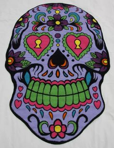 Purple Sugar Skull Rug $69