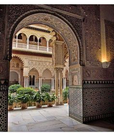 Al-Hambra, Granada, Spain Morrocan Architecture, Islamic Architecture, Beautiful Architecture, Beautiful Buildings, Architecture Design, Beautiful Places, Moroccan Design, Moroccan Style, Arabic Design
