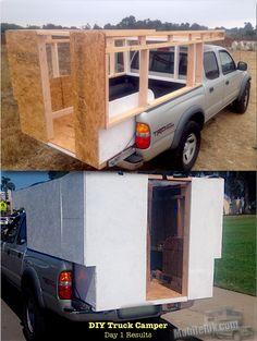 Mobile Rik built a Homemade DIY Truck Camper for his Tacoma Prerunner for under $250