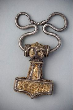 A 10th century Thor's Hammer (Mjölnir) from Odeshog, Sweden. These pendants were widely used as religious amulets during the Viking era, with wearers hoping to invoke the favour of the thunder and fertility god Thor