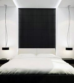 I am super into clean lines and neutral colors when it comes to a bedroom.  I love how this is simply black and white but to me it is so colorful.
