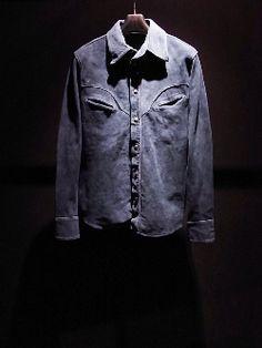 イサムカタヤマ バックラッシュ CALLING BACKLASH 1247-01 カーフスエードインディゴ染めシャツ