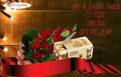 Get a classy touch to your Christmas gift this year with this 16 Pcs Ferrero Rocher with 12 Red Roses.An ultimate chocolate lovers delight.An irresistable creamy chocolate surrounding a whole hazelnut held softly within a crispy wafer. Order now: http://www.flowerzncakez.com/products/christmas-gift/classic-touch.htm