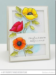 Delicate Pretty Poppies, Poppies and Leaves Die-namics, Stitched Cover-Up Companion - Vertical Die-namics - Barbara Anders #mftstamps
