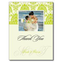 Green    Ivory Damask Thank You Photo postcards,