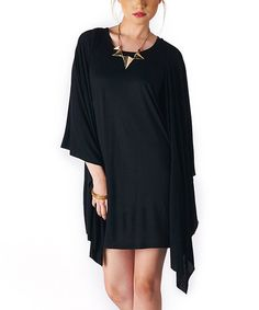 This Black Drape Dress by miilla  is perfect! #zulilyfinds