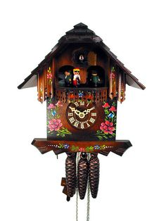 Black Forest Cuckoo Clock Music Dancer Roses 10.6in NEW