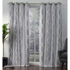 Shop ATI Home Alegra Thermal Woven Blackout Grommet Top Curtain Panel Pair – Overstock – 18590736 96 Inch Curtains, Sheer Curtain Panels, Home Curtains, Window Curtains, Curtains Living, Window Treatment Store, Window Treatments, Living Room Decor Gallery, Curtains