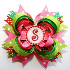 """4"""" Personalized Christmas Polka Dots Hot Pink Red Lime Green Stacked Hair Bow"""