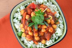 "Moroccan chickpea stew, served on a bed of cauliflower rice from ""Eat Raw, Eat Well"" by Doug McNish"