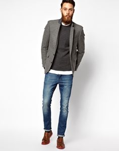 ASOS Slim Fit Blazer In Tweed at asos.com