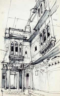 Trendy Ideas House Illustration Line Artists Ink Drawings, Cool Drawings, Drawing Sketches, Building Drawing, Building Sketch, Jaisalmer, Pen Sketch, Architecture Drawings, Architecture Panel