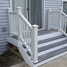 This is a small trex porch with trex railing system down to a brick #patio. NO job is to big or small for decks unlimited inc....